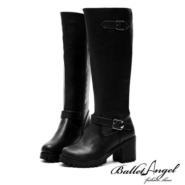 長靴 俐落風采雙皮帶美型長筒靴(黑) *BalletAngel【18-1782bk】【現貨】