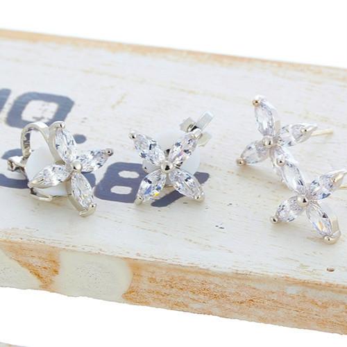 【NiNi Me】夾式耳環 氣質優雅時尚幸運草鋯石夾式耳環 夾式耳環 E0134