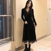 長禮服 秋季洋裝女長袖新款韓版絲絨打底蕾絲黑色禮服名媛氣質長裙 LN7001 【雅居屋】