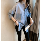 降價兩天 牛仔襯衫女2020秋新款 韓版長袖設計感小眾上衣 寬鬆休閒襯衣外套