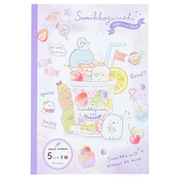 SAN-X 角落生物 夏季甜品系列 B5 膠裝方眼筆記本 5mm 紫_XS77777