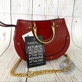 BRAND楓月 CHLOE 紅色 MINI PIXIE 麂皮拼接 手環圈圈包 手提包 肩背包 鍊包