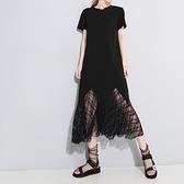 短袖洋裝-鏤空蕾絲拼接純色女連身裙2色73yh26[巴黎精品]