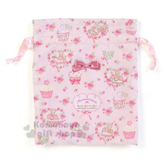 〔小禮堂〕兔媽媽 棉質束口袋《2入.粉.滿版》收納袋.縮口袋.杯子蛋糕系列 4901610-96039