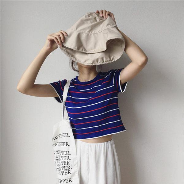 [協貿國際]學院風條紋圓領短袖t恤修身短款顯瘦露臍上衣1入