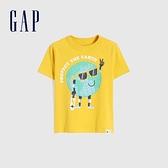Gap男幼童 布萊納系列 純棉童趣圓領短袖T恤 681413-亮黃色