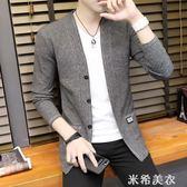 春秋新款男士毛衣韓版修身男裝潮流長袖針織線衫青年帥氣開衫外套 米希美衣