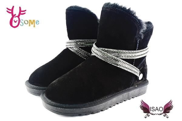 ISAO雪靴女款超值韓版真皮 雪地靴 刷毛 真皮 可拆時尚鍊飾 寒冬必備 N8012#黑色◆OSOME奧森童鞋