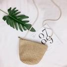 新款韓國草編包迷你貝殼包編織側背斜背百搭度假沙灘包女 智慧 618狂歡