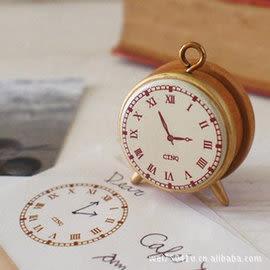 【543】創意 Decole 復古小巧 時鐘造型 木質印章 日記印章 手帳印章 WG005