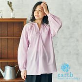 ❖ Spring ❖ 條紋寬鬆V領落肩長版襯衫上衣 - earth music&ecology