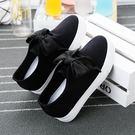 夏季厚底白色帆布鞋女鞋內增高百搭小白鞋女一腳蹬學生休閒懶人鞋 雲雨尚品