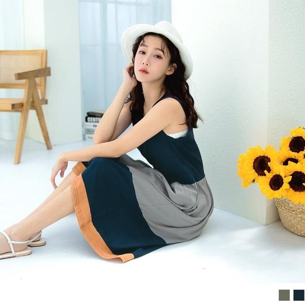 《DA7607-》台灣製造.高含棉撞色收腰拼接圓領無袖洋裝 OB嚴選