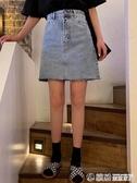 復古包臀裙春裝韓版高腰牛仔半身裙女顯瘦百搭A字裙短裙