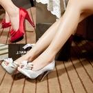 高跟凉鞋 歐美蝴蝶結防水臺綢緞面細高跟白色魚嘴伴娘鞋婚紗鞋女婚鞋新娘鞋