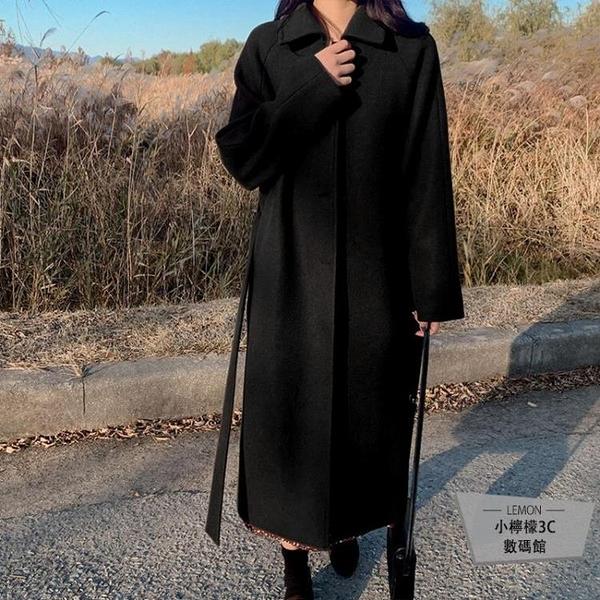 毛呢外套冬加厚大衣女系帶中長款小個子毛呢外套【小檸檬3C數碼館】