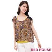 RED HOUSE-蕾赫斯-豹紋雪紡兩件式(豹紋咖) 零碼出清,滿599元才出貨