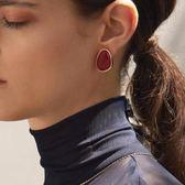 復古紅色設計感耳環女小眾韓國個性氣質百搭耳釘新款潮耳飾品