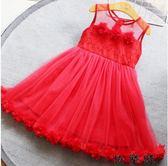 女童超洋氣大紅色蓬蓬紗公主裙小孩