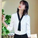 美之札[8Y755-PF]韓風甜美撞色金屬環領OL日常穿搭長袖上衣