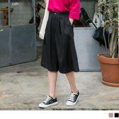 《BA4048》質感純色打褶七分寬版褲 OrangeBear