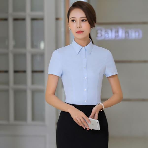 OL短袖白襯衫~*艾美天后*~5XL大尺碼夏季女裝職業裝百搭女士襯衣