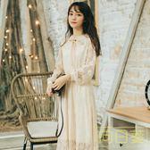 文藝洋裝 2019新款夏溫柔仙女裙超仙甜美初戀法式復古小清新蕾絲洋裝長裙