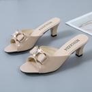 高跟拖鞋 韓版時尚百搭蝴蝶結細跟高跟鞋女式外穿中跟魚嘴拖鞋大碼涼拖女鞋