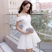 洋裝 小禮服 新款女裝宴會小清新蓬蓬裙白色一字肩連身裙