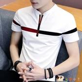 男士短袖T恤 純棉打底衫男裝潮流潮牌半袖V領POLO衫夏季新款上衣服