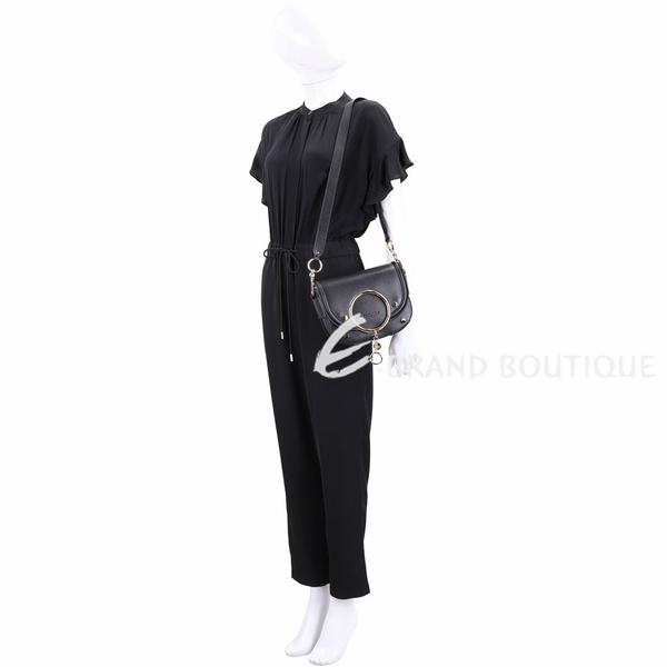 SEE BY CHLOE Mara 金屬環設計牛皮斜背包(黑色) 1940473-01