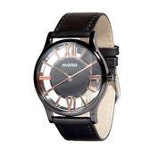【名人鐘錶】mono CK款中性鏤空黑玫瑰金皮革錶x38mm 黑小羊皮皮革帶×藍寶石水晶鏡面・公司貨