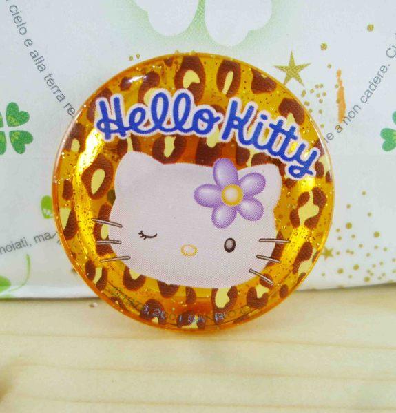 【震撼精品百貨】Hello Kitty 凱蒂貓~KITTY造型別針-圓造型-黃橘色-豹紋