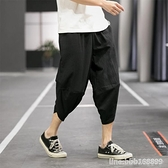 棉麻褲 夏季亞麻短褲男褲子休閒寬鬆7分褲七分褲沙灘褲棉麻燈籠潮流薄款 瑪麗蘇