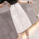 顯瘦遮胯半身長裙子仙女超仙森系女裝夏裝年新款潮高腰中長款 時尚芭莎