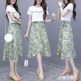 雪紡碎花連身裙女夏套裝2019新款法式復古裙流行小清新兩件套裙子『艾麗花園』