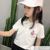 新款女童t恤夏有領短袖兒童POLO衫純棉童裝小熊白色T上衣女童夏裝 夏季新品