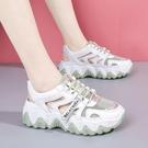包頭涼鞋女2021年夏季新款透氣厚底鏤空波浪底休閒運動老爹鞋ins 快速出貨