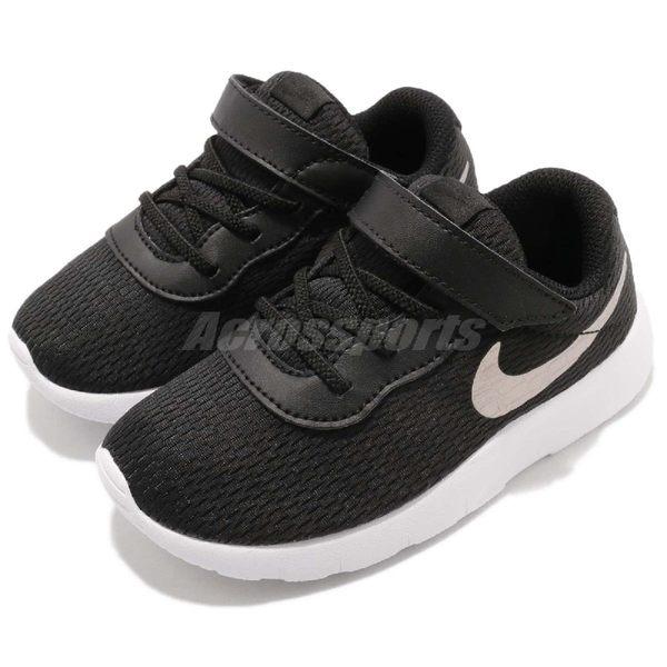 Nike 休閒鞋 Tanjun TDV 黑 銀 白底 免綁鞋帶 運動鞋 黑 白 魔鬼氈 童鞋 小童鞋【PUMP306】 818383-014