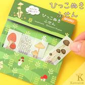 Hamee 日本 透明抽取式標籤 標示貼 便利貼 標籤貼 自黏貼 N次貼 辦公小物 (香菇) 177-154723