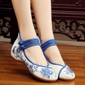 老北京布鞋 坡跟內增高繡花鞋青花瓷中國風民族風女鞋 週年慶降價