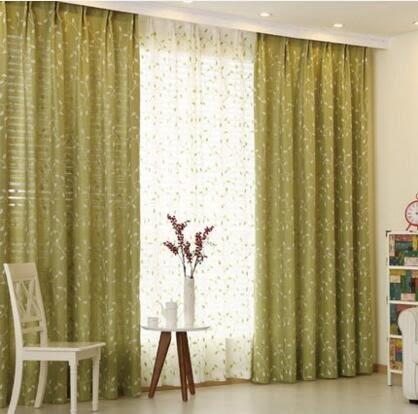 定制棉麻繡花窗簾遮光窗紗成品清新客廳臥室窗簾綠葉相隨  JX