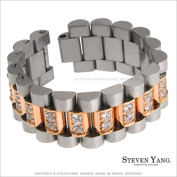 情人對戒 西德鋼戒指「類名牌錶鑽帶」玫金款*單個價格*