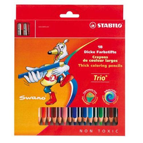 STABILO Trio thick 系列三角筆身色鉛筆18色*203/2-18