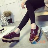 售完即止-牛津鞋紳士鞋鬆糕底厚底單鞋女英倫風布洛克平底休閒鞋女鞋6-15(庫存清出S)
