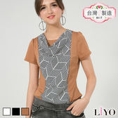 上衣MIT幾何垂領撞色公主袖名媛OL短T恤LIYO理優E812006