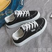 春季新款韓版黑色帆布鞋女百搭平底學生ulzzang板鞋ins潮鞋女 至簡元素