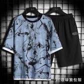 男士短袖T恤夏季2020新款潮流運動套裝休閒兩件套體恤衣服半袖男 LR23501『3c環球位數館』
