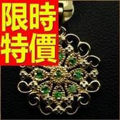 祖母綠寶石 項鍊+墜子925純銀創意原創-生日情人節禮物飾品53be45【巴黎精品】