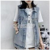 2010年夏季新款女裝網紅牛仔馬甲女韓版寬鬆無袖背心馬夾外套潮 快速出貨